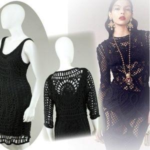Dresses & Skirts - CROCHET CUTOUT WEAVE SILK  DRESS + BOLERO JACKET